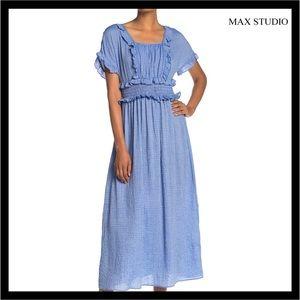 NEW MAX STUDIO SHORT SLEEVE STRIPED MIDI DRESS
